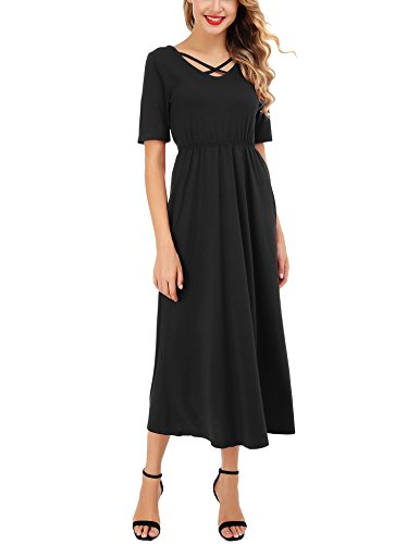 Womens Short Sleeve Criss Cross Maxi Dresses Plain Loose Long Dresses with Side Pockets (Black, XX-Large) by FISOUL