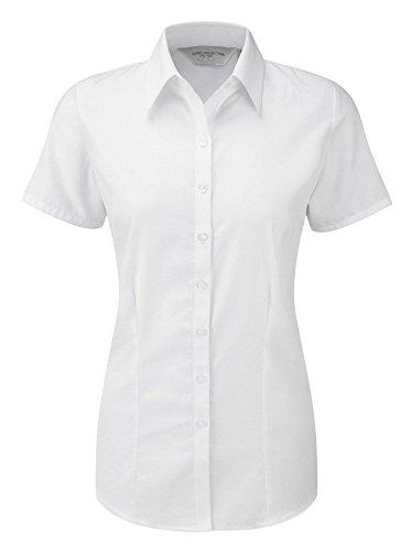 Russell Collection–j963F camisa mujer manga corta Herringbone Blanco blanco