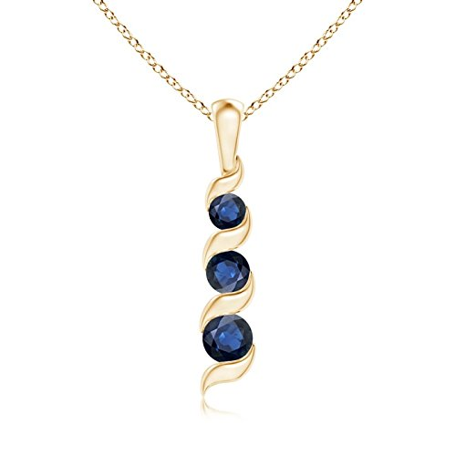 September Birthstone - Channel Set Round Sapphire 3-Stone Journey Pendant Necklace for Women in 14K Yellow Gold (4mm Blue Sapphire)