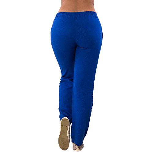 Casual Pantalons Taille pour Pantalons Solide Slim Pantalon Femme Fit Longs Moyenne Mousseline Taille Mode Couleur en Leggings Bleu lastique Confortable 1qxwRS6U