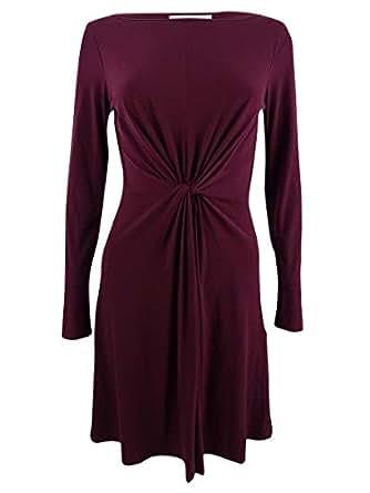 Michael Kors Women's Twist Front Long Sleeve Knee Length Dress, Merlot Red (Small)