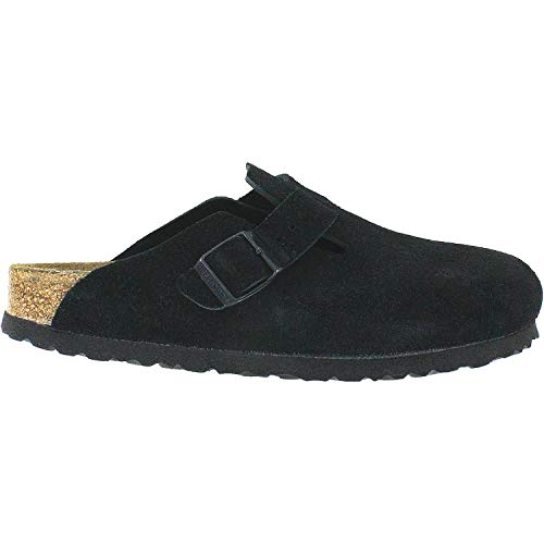 Birkenstock Boston Soft Footbed (Unisex), Black Suede, 37 N EU