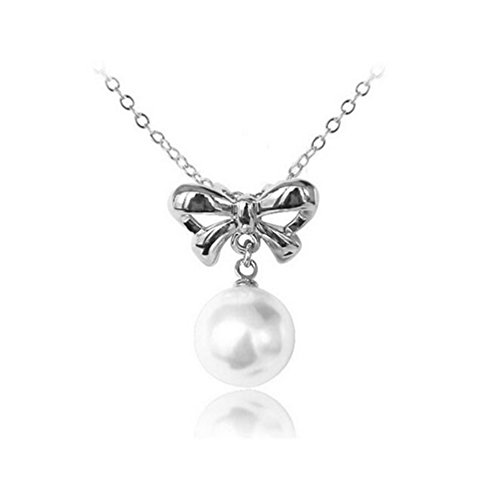 [Next-Mon Korean Fashion Clavicle Chain Necklace Pearl Bow Pearl Pendant(Silver)] (Diy Pageant Girl Costume)