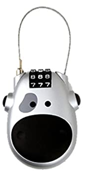 Cow Face Retractable Combination Padlock (Grey with Grey Eye) GRENDLE