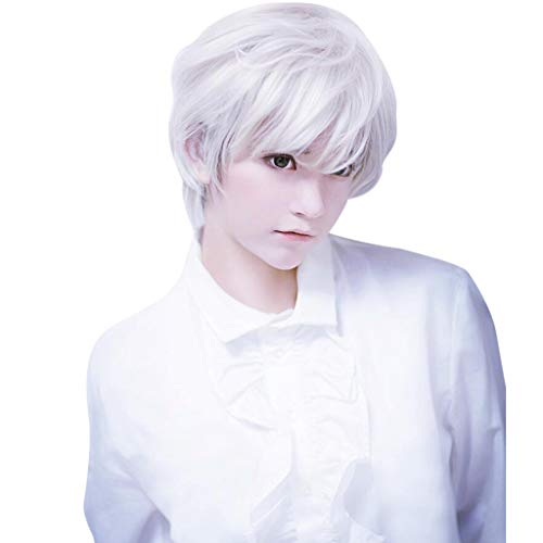 Clearance Sale!DEESEE(TM)Adult Mens Guy Wig Short Boy Band Wig White Short Perfect For Carnivals Theme Parties And Daily Life ()