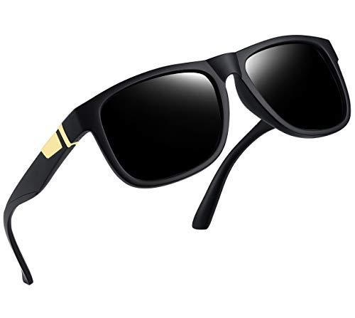 Joopin Unisex Polarized Sunglasses Classic Men Retro UV400 Brand Designer Sun glasses (Matte Black Retro) -