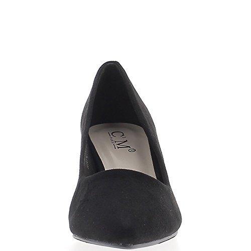 Escarpins pointus noirs à petits talons de 6 cm look daim