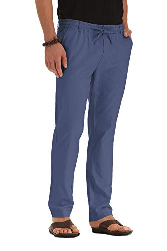 ZYFMAILY Men's Casual Beach Trousers Linen Summer Pant Denim Blue-US 32