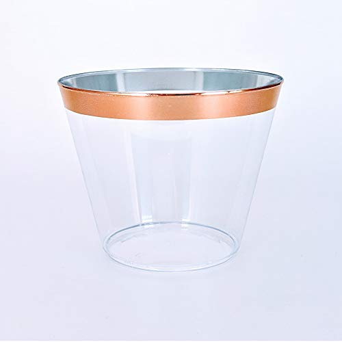 Rose Gold Rimmed Disposable Plastic Cups - Tumblers for Weddings, Holidays, Birthdays & Special Occasions - 100 Crystal Clear Old Fashioned Glasses, Great for Wine & Cocktails -