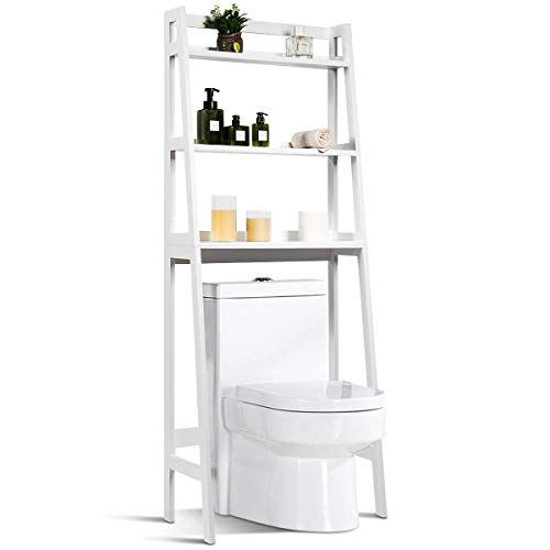 Tangkula Bathroom Space Saver, Over The Toilet Storage Rack, Free Standing 3-Shelf Bathroom Organizer, Multifunctional…