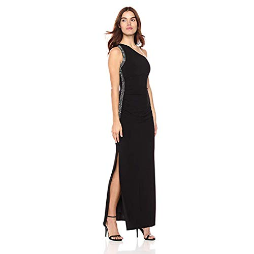 Laundry by Shelli Segal Women's Matte Jersey One Shoulder Gown with Beading, Black 2