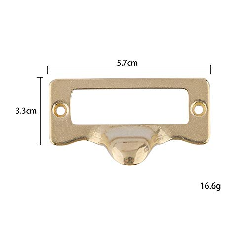 (ZnMig Brass/Antique Bronze Solid Brass Material Label Frame Card Holder Cup Pull Handles(Pack of 10pcs) Cupboard Door Cabinet Drawer Pulls (Color : Golden, Size : 5733mm))