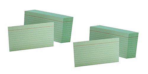 - 2 Pack of 100 Oxford Ruled Green 3 x 5 Inches Index Cards bundled by Maven Gifts