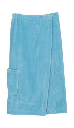 (TowelSelections Women's Wrap, Shower & Bath, Water Absorbent Cotton Lined Fleece Small/Medium Crystal Blue)