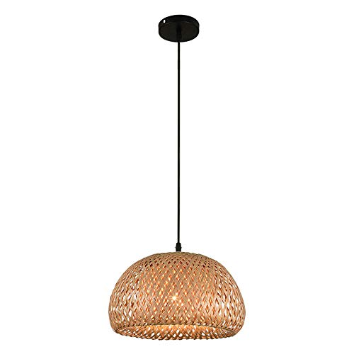 Zr Tropical Bamboo Chandelier DIY Wicker lampshade lamp Woven Hanging lamp Round Brown ()
