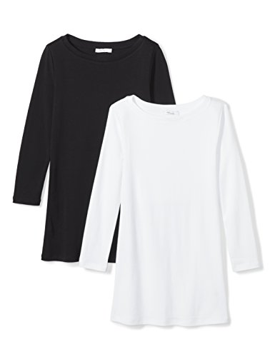 Daily Ritual Women's Midweight 100% Supima Cotton Rib Knit 3/4-Sleeve Boat Neck T-Shirt, 2-Pack, S, Black/White (Knit Boat Tee Neck)