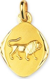 www.diamants-perles.com - Médaille Zodiaque ovale - Or jaune 750/1000 - LION