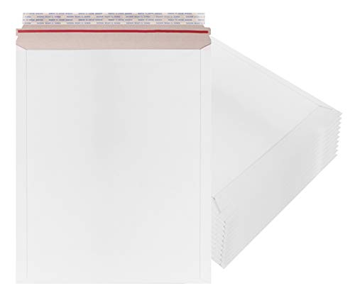 Rigid Mailers 12.75 x 15 Paperboard mailers 12 3/4 x 15 by Amiff. Pack of 10 white photo mailers. Stay Flat mailers. No bend, Self sealing. Document chipboard envelopes. Mailing, shipping, packaging.