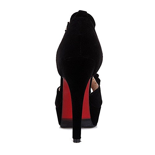 AllhqFashion Mujeres Hebilla Tacón de aguja Gamuza(Imitado) Sólido Peep Sandalia Negro
