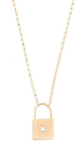 Zoe Chicco Women's 14k Gold Padlock Diamond Necklace, Gold, One Size