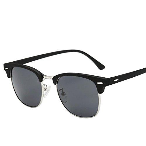 Start Unisex Men Women Square Mirrored Sunglasses Eyewear Outdoor Sports Glasses (Black-Gray C, 52)