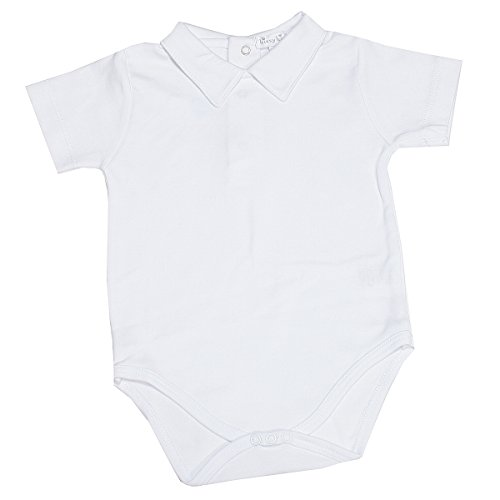 Collar Onesie - Kissy Kissy Baby Basic Short Sleeve Collared Bodysuit with Collar-White-0-3 Months