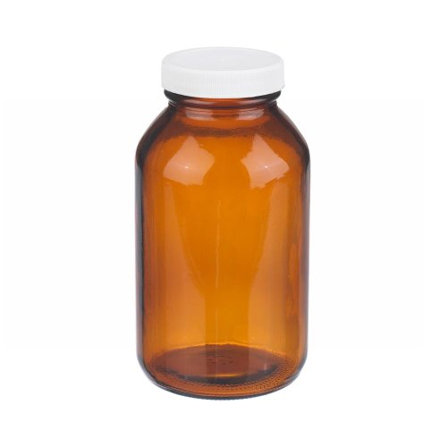 Wheaton W216949 Wide Mouth Packer Bottle, Amber Glass, Capacity 16oz With 53-400 White Polypropylene PTFE Faced Polyethylene Screw Cap, Diameter 80mm x 146mm (Case Of 12) (Amber Mouth Wide Glass Packers)