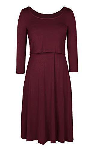 Pink QueenWomens Cotton Maternity 3/4 Sleeve Nursing Dress