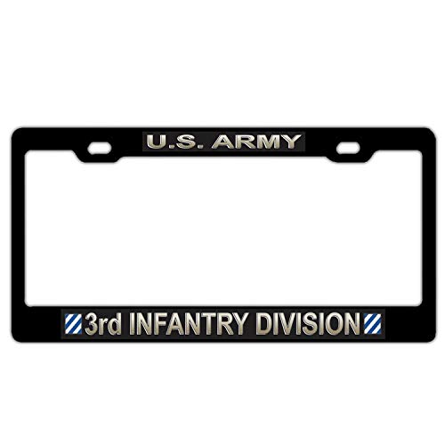 U.S. Army 3rd Infantry Division Military License Plate Frame for Women/Men, Black Aluminum Metal License Plate Cover, Auto Car Truck License Tag Frame