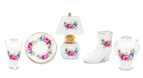 Zamonji 5pc Porcelain Miniature Table Lamp Vase High Heel Pot Dollhouse Furniture Accessories ()