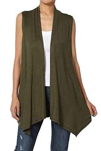 - TheMogan Women's Sleeveless Waterfall Jersey Cardigan Asymmetric Vest Olive 3XL