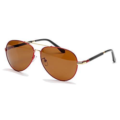 Polarized Sunglasses for Men Women Aviator Sunglasses Polarized Pilot Sunglasses UV 400 Protection Classic Style (Non Mirrored, Red Frame)