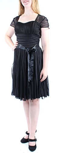 JS Collection $189 New 8576 Black Striped Faux Leather Trim A-Line Dress 8 B+B