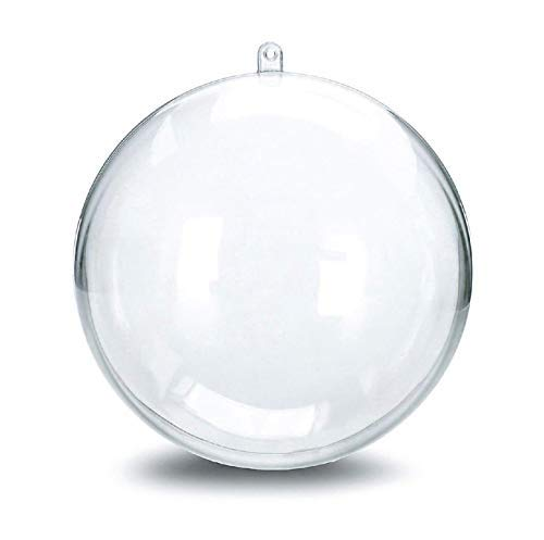 YANWIN 10pcs Christmas Ornaments Balls, Clear Fillable Festival Decoration Baubles DIY Plastic Bath Bomb Mould Craft for New Years Gift Present Outdoor Wedding Home Decor (Ball / 3.94