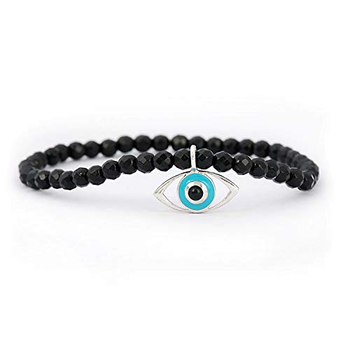 (Sterling Silver Evil Eye Charm Bracelet with Black Onyx Beads)