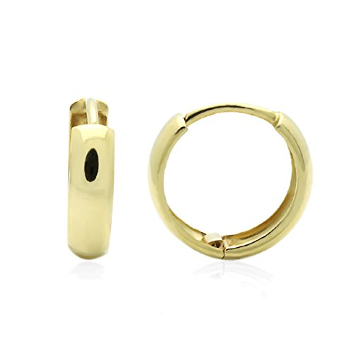 14K Yellow Gold Plain Domed 10 mm Length Huggie Hoop Earrings ()