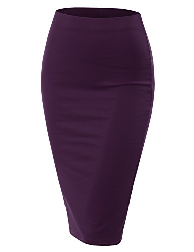 Doublju Stretch Knit Midi Pencil Skirt with Back Slit for Women with Plus Size Plum X-Large