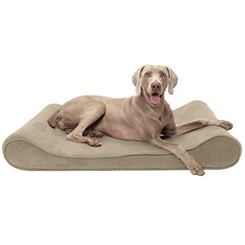 Furhaven Pet Dog Bed | Orthopedic Micro Velvet Ergonomic Luxe Lounger Cradle Mattress Contour Pet Bed w/ Removable Cover for Dogs & Cats, Clay, Jumbo