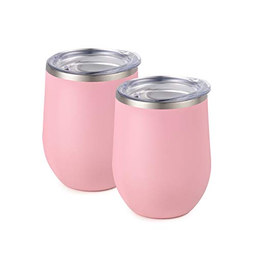Maars Bev Stainless Steel Stemless Wine Glass Tumbler with Lid, Vacuum Insulated 12 oz - Carnation Pink Semi Matte Cup | Spill Proof, Travel Friendly, Fun Cocktail Drinkware - 2 Pack Set