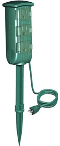 (Westinghouse 28000 3-Outlet Outdoor Mini Ground Stake with 6-Feet Cord, Green)