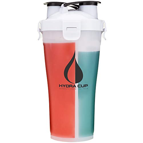 Hydra Cup 3.0-36oz High Performance Dual Shaker Bottle, Patented PRE + Protein Shaker Cup, Leak Proof, Awesome Colors, Save Time & Be Prepared, Everest White