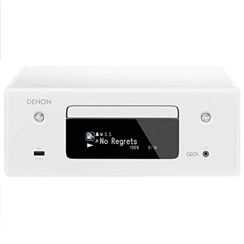 Denon CEOL-N10 Audio Receiver with CD Player, HiFi Amplifier for TV Sound, Bluetooth, 2x Optical Input, Google Assistant / Siri / Alexa Compatible, Music Streaming, HEOS Multiroom - White
