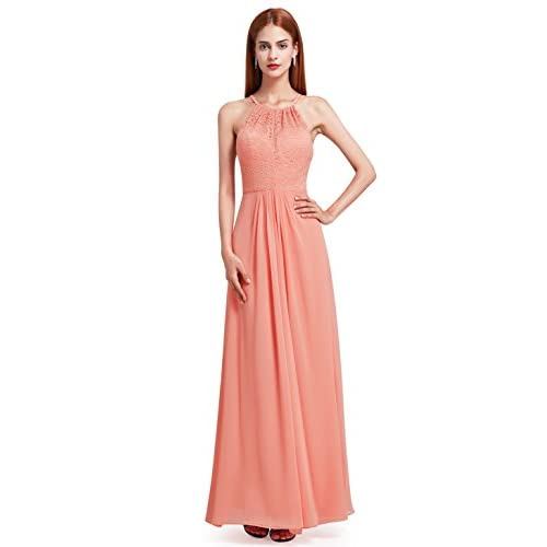 Hot Ever-Pretty Womens Floor Length Sleeveless Jewel Lace Neckline Bridesmaid Dress 08982 free shipping