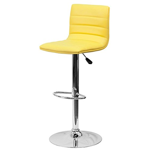 Modern Barstools Horizontal Line Design Hydraulic Adjustable Height 360-Degree Swivel Seat Sturdy Steel Frame Chrome Base Drafting Dining Chair Bar Pub Stool Home Office Furniture - (1) Yellow #1980