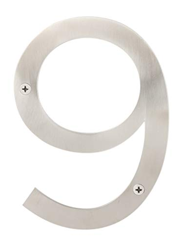 "Sure-Loc Hardware HNSS6-9 SS 6"" No, 9 Satin Modern Stainless Steel House Numbers"