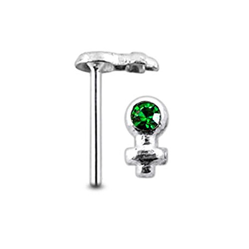 - Dark Green Gem Female-Sign Sterling Silver Straight Nose pin Body jewelry