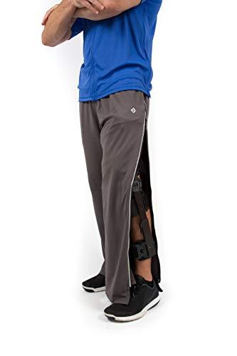 - Reboundwear Mens Greg Pants - Post Surgery Clothing Adaptive Apparel (X-Large, Grey)