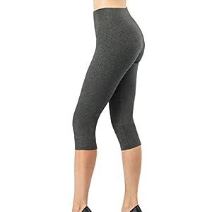 iLoveSIA Women's Tights Capri 3/4 Workout Leggings US Size L Dark Grey