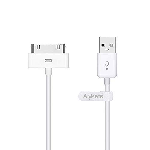 AlyKes USB Sync Charging Cable 30-pin to USB Cord and Charge Dock Cable for 4/4s,3/3GS,iPod Nano/Tuch White 3 Feet