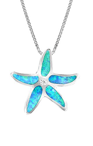 Honolulu Jewelry Company Sterling Silver Starfish CZ Necklace Pendant with Simulated Blue Opal and 18 Box Chain